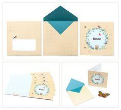 birth announcement card Boaz | sweet | beautiful envelope design | pattern | bird | butterfly | flowers | yellow | geboortekaartje
