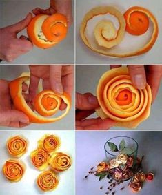 Romantic Dried Fruit Decoration Idea: Orange Peel Roses - Happy Christmas - Noel 2020 ideas-Happy New Year-Christmas Dried Orange Peel, Dried Oranges, Dried Fruit, White Christmas, Christmas Time, Christmas Crafts, Christmas Decorations, Crafts To Sell, Diy And Crafts