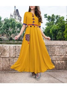MUSTAD COLOUR AND MIX DEGINE KURTI VERY EXPENSIVE KURTI BUY ONLINE SHOPPING AT WEWILLFASHION Abaya Fashion, Indian Fashion, Fashion Dresses, Kurta Designs Women, Blouse Designs, Yellow Gown, Yellow Kurti, Indian Gowns Dresses, Mode Hijab