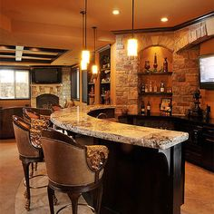 Basement Basement Bar Design, I like the openness of the bar/kitchen area.for the open design of our basement plan Sweet Home, Traditional Family Rooms, Traditional Office, Deco Design, Home Living, Living Area, Basement Remodeling, Remodeling Ideas, Bars For Home