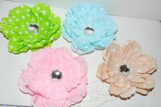 Check out this item in my Etsy shop https://www.etsy.com/listing/116636355/polka-dot-peony-hair-clips-lime-baby