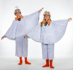 seagull costume white feathery cape orange bowties but add striped tights instead of legs orange hat with big pouf of feathers Little Mermaid Broadway, Little Mermaid Play, Little Mermaid Costumes, Broadway Costumes, Theatre Costumes, Bird Costume, Costume Shop, Mermaid School, The Giant Peach