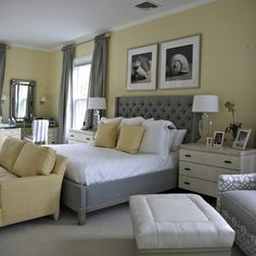 Bedroom Color Schemes With Gray Bedroom Decorating Ideas Best Grey Bedroom Colors, Gallery Bedroom Color Schemes With Gray Bedroom Decorating Ideas Best Grey Bedroom Colors with total of image about 20200 at Home Design Ideas Light Yellow Bedrooms, Yellow Gray Bedroom, Grey Bedroom Design, Bedroom Paint Colors, Bedroom Color Schemes, Bedroom Designs, Grey Yellow, Light Yellow Walls, Yellow Rooms
