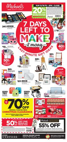 Michaels Weekly Ad December 18 - 24, 2016 - http://www.olcatalog.com/grocery/michaels-weekly-ad.html
