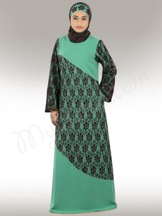 Beautiful Light Green and Brown Party Wear Abaya| MyBatua.com  Noureen Abaya!  Style No : AY-296  Shopping Link : http://www.mybatua.com/noureen-fashion-abaya   Available Sizes XS to 7XL (size chart: http://www.mybatua.com/size-chart/#ABAYA/JILBAB  •A-Line Designer Abaya •Embroidery finishing with green thread on brown net •Utility pockets on both sides •Bell sleeves top, straight sleeve inside