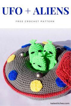 FREE crochet pattern - aliens and a UFO
