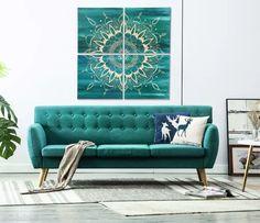 Ręcznie malowany obraz z motywem mandali składający się z 4 części 50x50cm.  Kolorystyka: Tło: turkus, niebieski, morski.  Mandala: beż.   Możliwa inna kombinacja kolorystyczna.   Obraz malowany na zamówienie. Termin realizacji 20 dni roboczych. #obraz #interiordesign #design Sofa, Couch, Cozy Living Rooms, Painting Canvas, Love Seat, Furniture, Home Decor, Art, Art Background