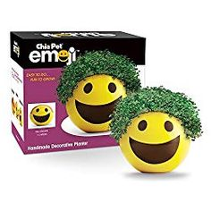 Smiley 😃 Emoji Speak Louder Than Words Chia Pet Handmade Decorative Planters – Watch Your Emotions Grow! When words aren't enough, give a Ch-Ch-Ch-Choose from Chia Pet Emoji Winky, Smiley and Heart Eyes or collect all three! Cheap Stocking Stuffers, Weird Inventions, Chia Pet, 12 Year Old Boy, Smiley Emoji, Decorative Planters, Pet Rocks, Novelty Gifts, Handmade Decorations
