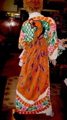 HANDMADE Woman s Bathrobe-Vintage PEACOCK PLUSH CHENILLE Bedspread Robe By  Joy.  Handmade ca46e406d