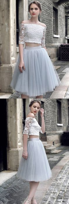 Silver Prom Dress, Short Prom Dresses, Two Piece Homecoming Dress, Lace Homecoming Dresses, Off the Shoulder Cocktail Dresses