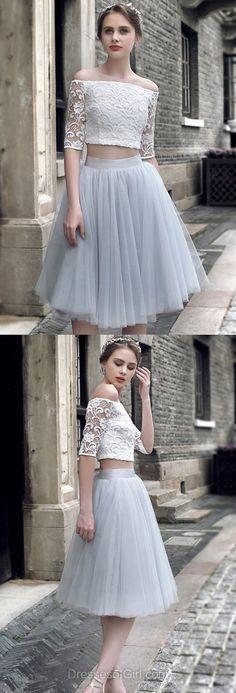 Silver Prom Dress, Short Prom Dresses, Two Piece Homecoming Dress, Lace Homecoming Dresses, Off the Shoulder Cocktail Dresses