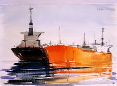 PLACERES GRIEGOS: ΤΑ ΤΑΝΚΕΡ ΤΟΥ ΠΑΡΙ ΠΡΕΚΑ Greece Painting, Video Artist, Greek Art, Seascape Paintings, Artist Gallery, Sailing Ships, Contemporary Art, Boat, Landscape