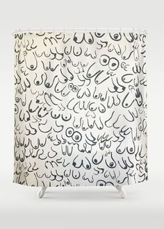 Boobs Shower Curtain by gravel and gold Ottawa Shopping, Candle Art, Home Candles, Buttonholes, Paper Goods, Decorative Items, Art Decor, Print Design, Boobs