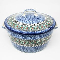 """5 3/4"""" H x 8"""" W x 9 1/2"""" L - Quality 1 Guaranteed from the renowned Ceramika Artystyczna Boleslawiec - Polish Pottery is Oven, Microwave, and Dishwasher Safe! - Hand Painted and Stamped by Highly Skil"""