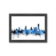 Americanflat Michael Tompsett ''Melbourne Skyline'' Framed Wall Art, Blue