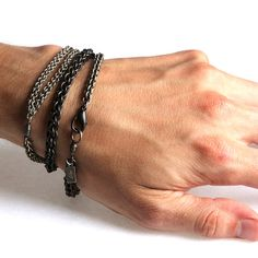 The Copula Bracelet measures and is meant to be worn as a triple wrap bracelet. Three different sizes of handwoven JPL (Jens Pind Linkage) chain are separated by . Viria, Heart Keyring, Gold Chains For Men, Chainmaille Bracelet, Chic, Mens Fashion, Boy Fashion, Chain Bracelets, Chain Jewelry