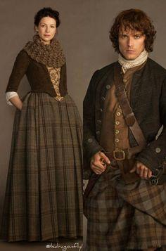 Actors Caitriona Balfe (Claire) and Sam Heughan (Jamie) in Diana Gabaldon's Outlander TV serie. Kilts and tartan. -- https://www.facebook.com/OutlanderFans/photos_stream?fref=photo