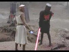 The Black Knight goes toe to toe with light sabers in this Star Wars mashup of Monty Python and the Holy Grail.