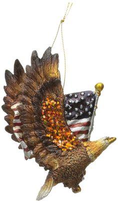 Amazon.com: Kurt Adler Resin Patriotic Eagle with the American Flag Ornament…