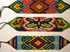 Manillas Peyote Stitch Patterns, Seed Bead Patterns, Beading Patterns, Seed Bead Bracelets, Loom Bracelets, Collar Indio, Mexican Pattern, Beads Pictures, Indian Patterns