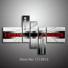 Oil Painting Hand Painted 5 Panel Set Abstract Modern Line Flower Wall Art Canvas Home Decoration Picture For Living Room Sale Modern Oil Painting, Hand Painting Art, Oil Painting Abstract, Modern Paintings, Painting Canvas, Oil Paintings, Red Abstract Art, Abstract Canvas, Living Room Pictures