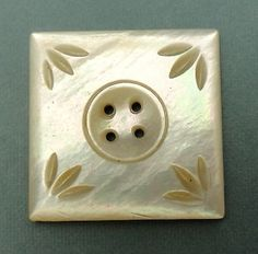 Antique MOP SHELL SQUARE Button Carved