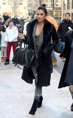 Shay Mitchell Dresses For East Coast Winter Like A Pro In Shearling Coat