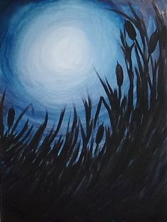 Acrylic Silhouette Painting - Morning Light  #AcrylicPainting #AcrylicPaintingOnCanvas #SilhouettePainting