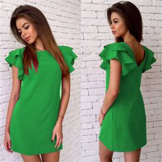 Summer Casual Style Butterfly Sleeve Dress Red Blue Yellow Backless Beach Mini Party Club Dresses Vestidos Green S Casual Summer Dresses, Casual Dresses For Women, Sexy Dresses, Short Sleeve Dresses, Dresses With Sleeves, Loose Dresses, Dress Summer, Dress Casual, Purple Dress Shirt