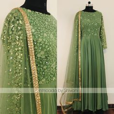 Stunning olive green floor length anarkali dress with hand embroidery work. For enquiries or to order email at shivani@intricado.com Whatsapp at +918527463626 . 08 October 2017