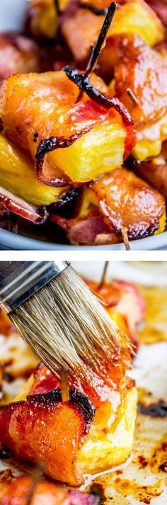 Bacon Wrapped Pineapple with Honey Chipotle Glaze, from The Food Charlatan. These super easy appetizers are huge crowd pleasers! I mean how can you go wrong with bacon and pineapple? Brush with a 2-ingredient honey chipotle glaze, and before you know it you've eaten an entire pineapple single-handedly. These are great for parties, baby and bridal showers, BBQs, and pretty much any time you have a gathering of friends!