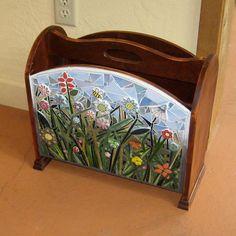 Vintage Mosaic Spring Meadow of Flowers Wooden Magazine Rack by valnorthwoods, $295.00
