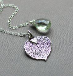 Leaf Lariat Necklace Green Amethyst Gemstone Aspen by LRoseDesigns, $44.00
