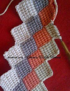 Tunisian blankets making 6 - Super Crochet Crochet Motifs, Crochet Blocks, Crochet Stitches Patterns, Tunisian Crochet, Crochet Patterns For Beginners, Crochet Squares, Baby Knitting Patterns, Crochet Designs, Crochet Crafts
