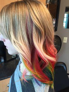 Rainbow hair Pravana hair color