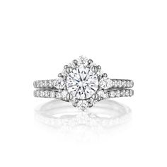 www.cmijewelry.com Designer Diamond Shaped Halo Engagement Ring, modern, contemporary style, thin prong set – Style S2495 Diamond Weight - 0.65 Carats cts shown as set