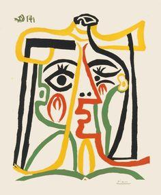 Bloch 1067: Portrait de Jacqueline - Pablo Picasso linocut