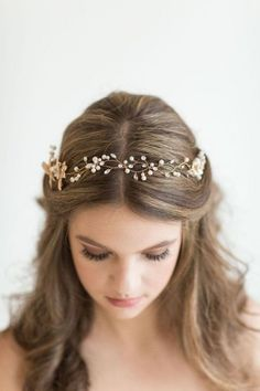 Simple wave long hair quick wedding hairstyles with gold headpiece. Easy twist and tuck simple chignon with silver hairband crown wedding hairstyles idea. Simple half braid updo with simple wave wedding hairstyles idea. Wedding Hairstyles Tutorial, Simple Wedding Hairstyles, Bride Hairstyles, Headband Hairstyles, Down Hairstyles, Easy Hairstyles, Bridesmaid Hairstyles, Hairstyle Ideas, Headband Updo