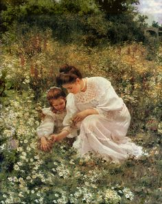 Hermann Seeger (German, 1857-1945). Picking Daisies. 1905. Oil on canvas.