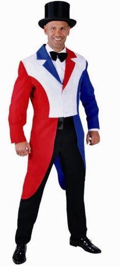 Déguisement Queue de Pie rouge-blanc-bleu homme luxe b7579982c1c
