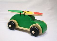 """VW Bug Wood Toy-Green-With Removeable Surfboard-""""Surf Bug"""""""