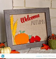 Welcome Autumn Burlap Art by Annie Williams using Heat Transfer Material and my Silhouette CAMEO #silhouettedesignteam