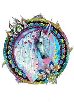 Patrón de galaxy Unicorn - firmado Art Print