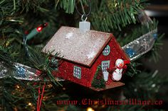 Glitter House from ChristmasVillage.co Christmas Crafts, Christmas Ornaments, Glitter Houses, Card Stock, Holiday Decor, Home Decor, Decoration Home, Room Decor, Christmas Jewelry