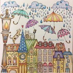 (2017.7.2) * 思うままに塗ったら、 色が暑苦しくなっちゃったみたい * ま、いっか(^◇^;) * #meinfrühlingsspaziergang #ritaberman #大人の塗り絵 #コロリアージュ #coloringbook #coloring #coloriage #adultcoloringbook #著色本 #色鉛筆 #油性色鉛筆