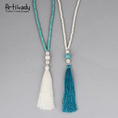 Artilady beads turquoise necklace vintage indian jewelry long chain tassel necklace for women wedding jewelry http://amzn.to/2t51PPS