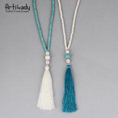 Artilady cuentas de turquesa collar de la joyería india de la vendimia cadena larga collar de la borla para las mujeres joyería de la boda