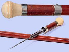 "A four barrel gun cane with a spike ""bayonete"""