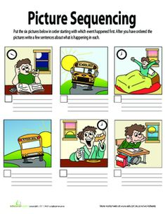 RI Worksheets: Picture Sequencing - cut apart and retell with sequencing words. Story Sequencing Worksheets, Sequencing Activities, Speech Therapy Activities, Language Activities, Comprehension Worksheets, Story Sequencing Pictures, Sequencing Events, Preschool Poems, Writing Worksheets