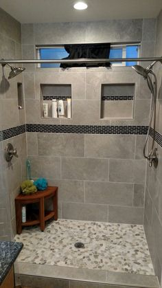 49 Luxurious Tile Shower Design Ideas For Your Bathroom is part of Master bathroom shower - Suppose you just moved into a new home It is the home of your dreams with one exception; Master Bathroom Shower, Modern Bathroom, Bathroom Gray, Shower Walls, Small Bathrooms, Small Baths, Shower Niche, Diy Shower, Narrow Bathroom